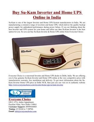 Buy Su-Kam Inverter and Home UPS Online in India