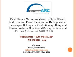 Food Flavors Market projected to grow at CAGR 5.6% during 2015-2020. Forecast period also to witness