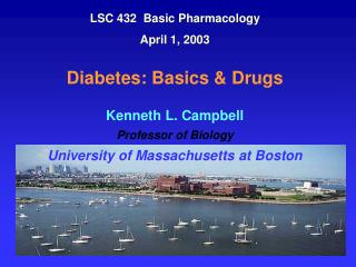 LSC 432  Basic Pharmacology April 1, 2003   Diabetes: Basics  Drugs  Kenneth L. Campbell Professor of Biology University