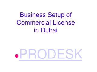 Business Setup of Commercial License in Dubai