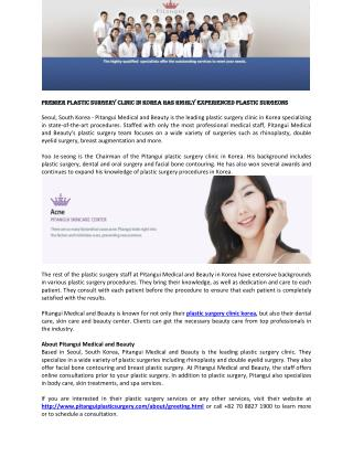 Premier Plastic Surgery Clinic in Korea Has Highly Experienced Plastic Surgeons