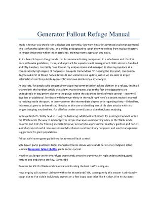 Generator fallout refuge manual