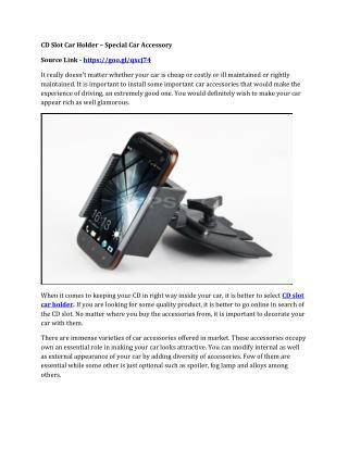 CD Slot Car Holder – Special Car Accessory