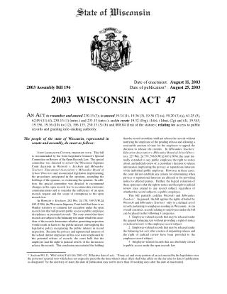 "Full Text of the ""Woznicki Fix"" (2003 Wisconsin Act 47)"