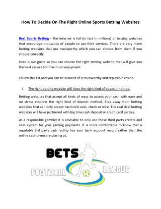 How To Decide On The Right Online Sports Betting Websites