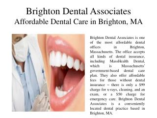 Brighton Dental Associates Affordable Dental Care in Brighton, MA