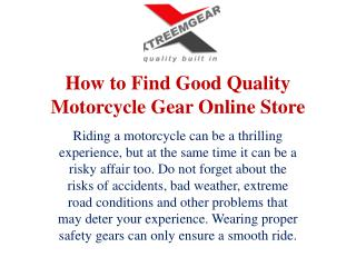 How to Find Good Quality Motorcycle Gear Online Store