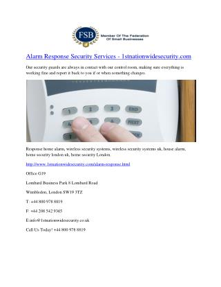 Alarm Response Security Services - 1stnationwidesecurity.com