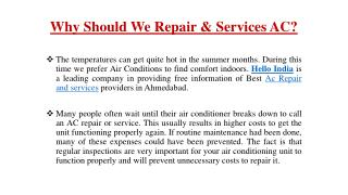 Why Should We Repair & Services AC?