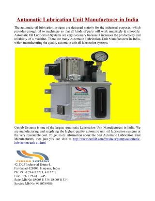 Automatic Lubrication Unit Manufacturer in India