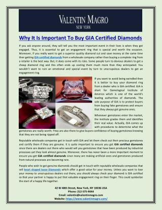 Why It Is Important To Buy GIA Certified Diamonds