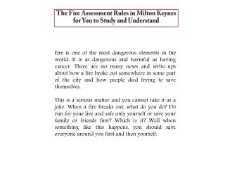 The Fire Assessment Rules in Milton Keynes for You to Study and Understand