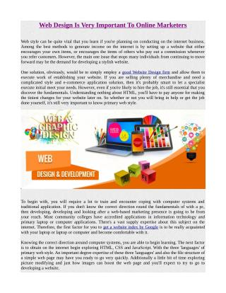 Web Design Is Very ImportantTo Online Marketers