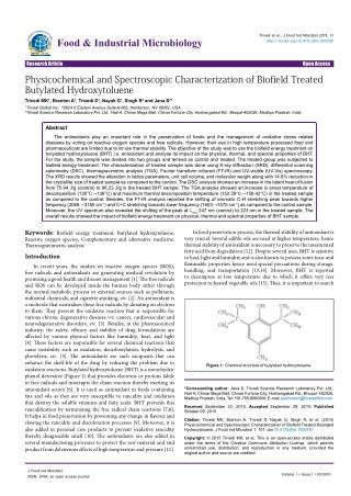 Physicochemical and Spectroscopic Characterization of Biofield Treated Butylated Hydroxytoluene