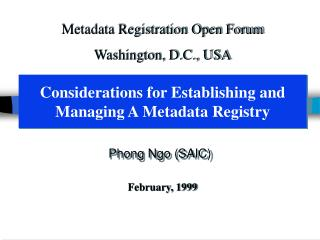 Considerations for Establishing and Managing A Metadata Registry