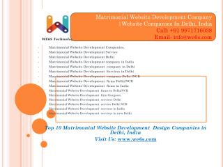 Matrimonial Website Development companies Delhi/NCR, India
