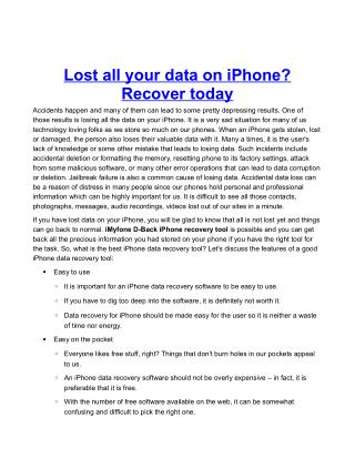 Lost all your data on iPhone? Recover today