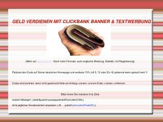 Geld Verdienen Mit Clickbank Banner & Textwerbung