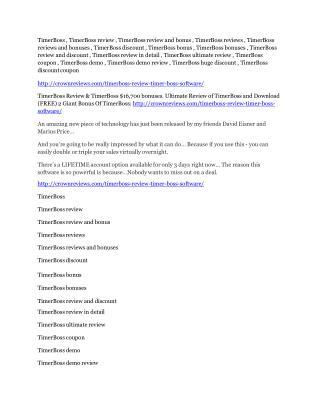TimerBoss Review & GIANT Bonus