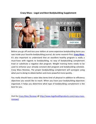 Crazy Mass Reviews @ http://www.legalhealthproducts.com/crazy-mass-reviews/