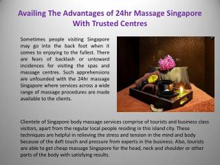 Singapore Body Massage Services
