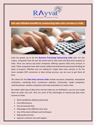 Data Entry Services to India