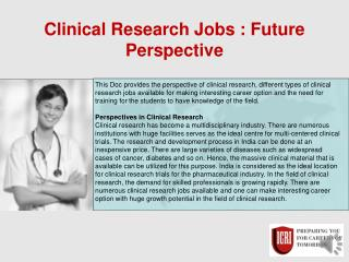 Clinical Research Jobs, Post Graduate Diploma In Clinical Research
