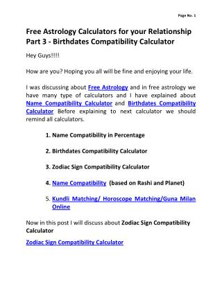Free Astrology Calculators for your Relationship Part 3 - Birthdates Compatiblity Calculator