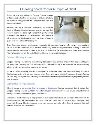 A Flooring Contractor for All Types of Client
