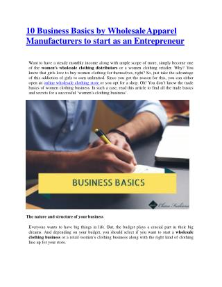 10 Business Basics by Wholesale Apparel Manufacturers to start as an Entrepreneur