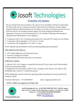 Buy Franchise in affordable range - JOSOFT TECHNOLOGIES