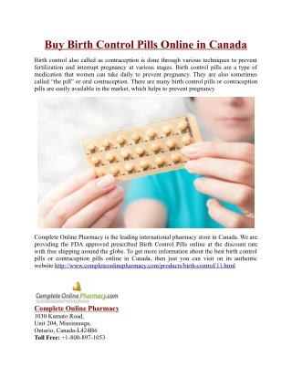 Buy Birth Control Pills Online in Canada