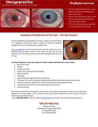 Symptoms & Syndrome of Dry Eyes - The Eye Practice