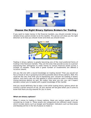 How To Choose The Right Binary Options Brokers For Trading