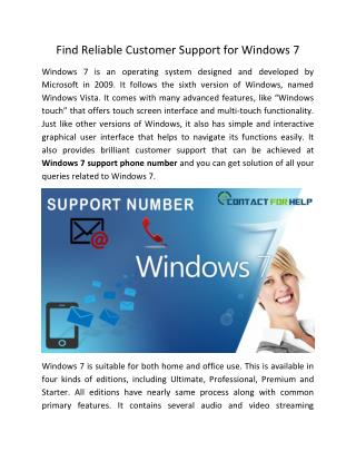 Find reliable customer support for Windows 7