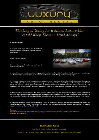 Thinking of Going for a Miami Luxury Car rental? Keep These in Mind Always!