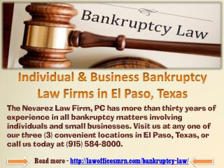 Individual & Business Bankruptcy Law Firms in El Paso, Texas