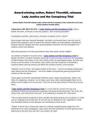 Award-winning author, Robert Thornhill, releases Lady Justice and the Conspiracy Trial