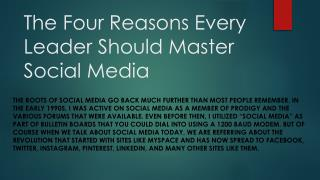 The Four Reasons Every Leader Should Master Social Media