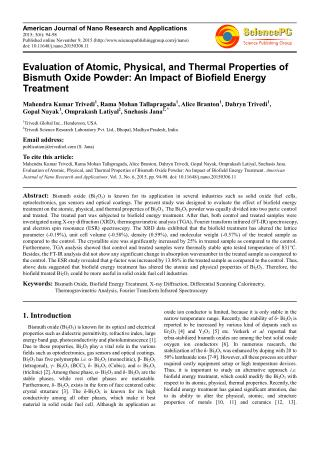 Evaluate Properties of Biofield Treated Bismuth Oxide Powder