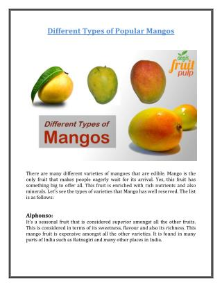 Different Types of Popular Mangos