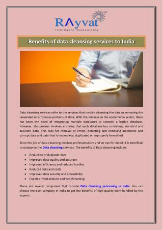Data cleansing services to India
