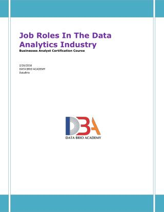 Job Roles In The Data Analytics Industry