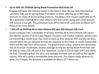 Up to 30% off: DVDFab Spring Break Promotion 2016 Kicks off