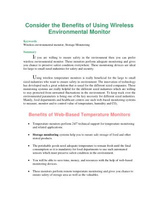 Consider the Benefits of Using Wireless Environmental Monitor