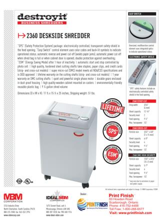 MBM Ideal Destroyit 2360 Strip-Cut Paper Shredder - Printfinish.com
