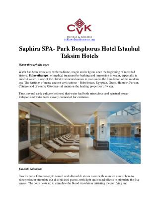 Saphira spa | park bosphorus hotel istanbul | taksim hotels