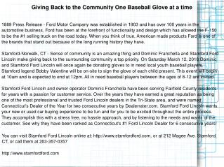 Giving Back to the Community One Baseball Glove at a time
