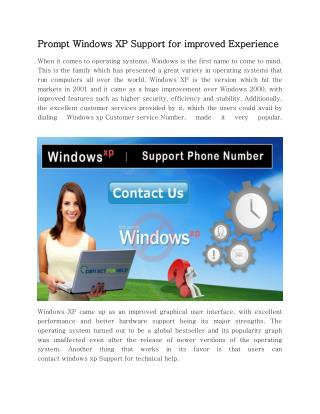Prompt Windows XP Support for improved Experience