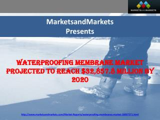 Waterproofing Membrane Market Projected to Reach $32,857.8 Million by 2020